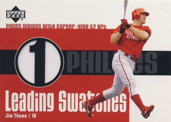 2003 Upper Deck Leading Swatches #JT Jim Thome HR