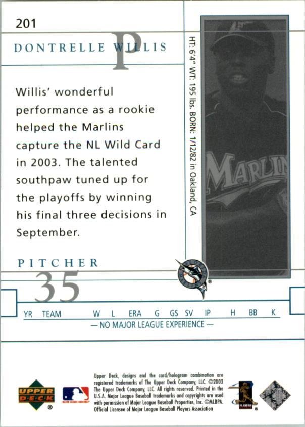 2003 Upper Deck Game Face #201 Dontrelle Willis FF back image
