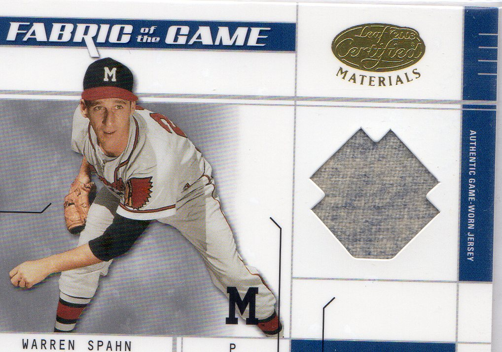 2003 Leaf Certified Materials Fabric of the Game #79BA Warren Spahn BA/20