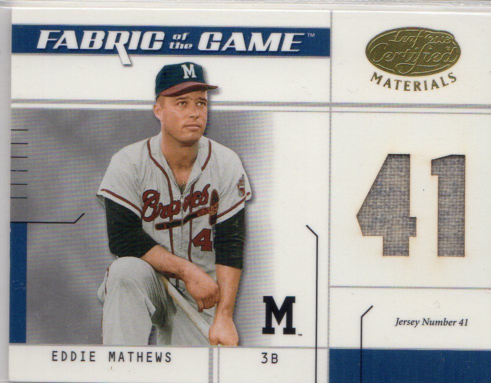 2003 Leaf Certified Materials Fabric of the Game #129JN Eddie Mathews JN/41