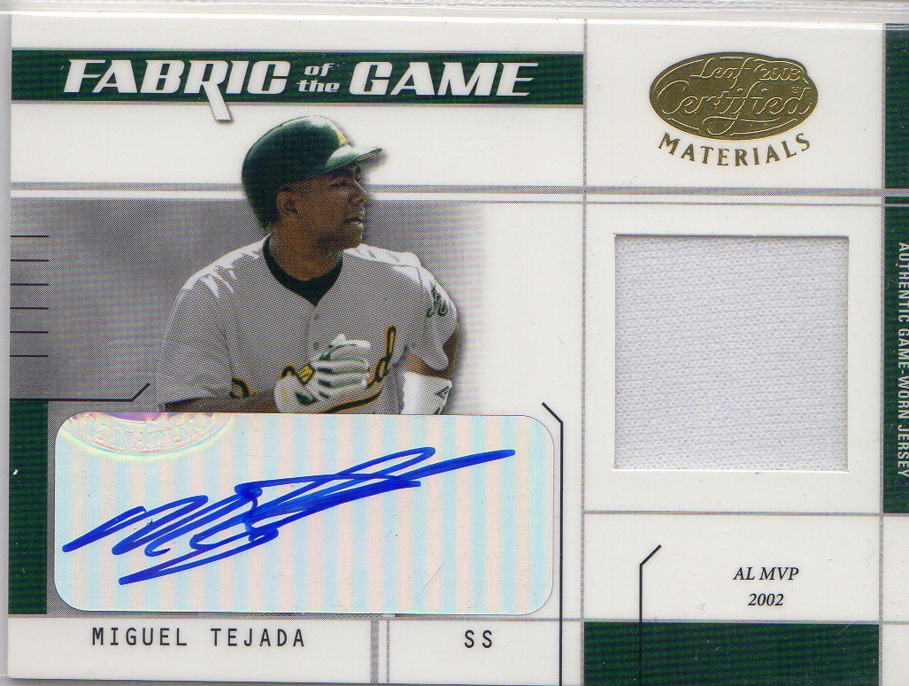 2003 Leaf Certified Materials Fabric of the Game Autographs #19IN Miguel Tejada IN/5