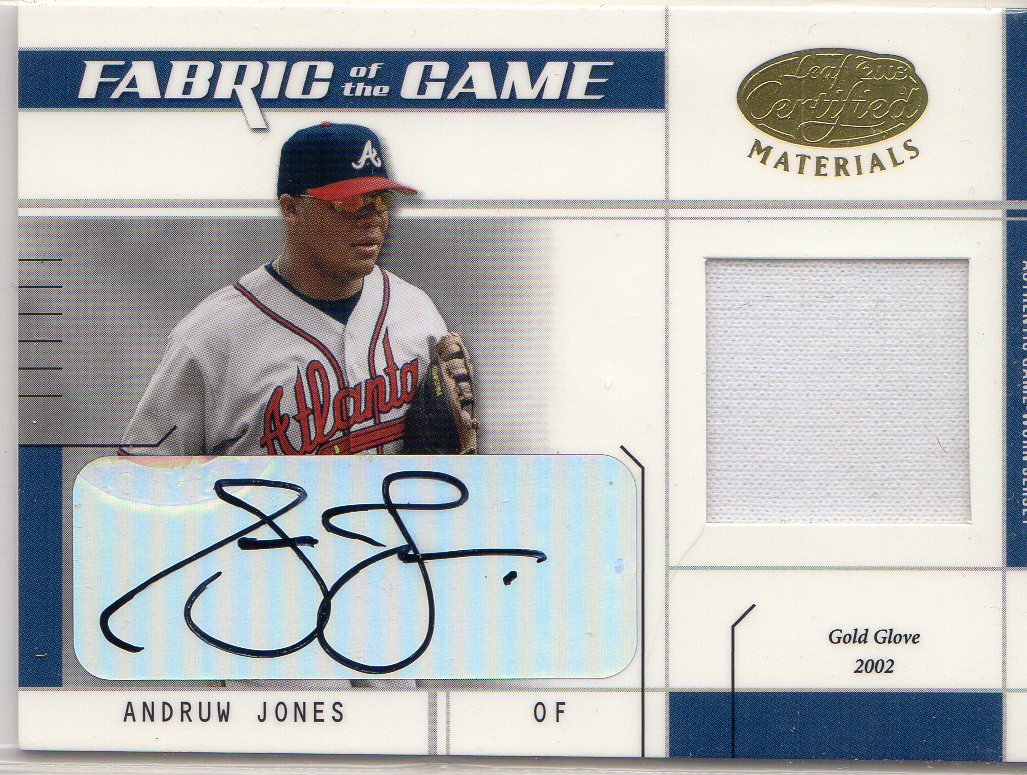 2003 Leaf Certified Materials Fabric of the Game Autographs #93IN Andruw Jones IN/5