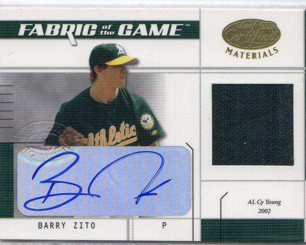 2003 Leaf Certified Materials Fabric of the Game Autographs #150IN Barry Zito IN/5