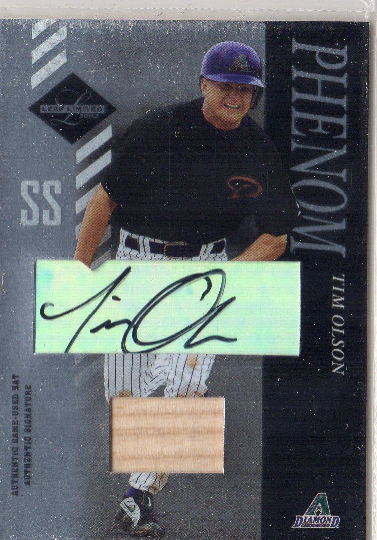 2003 Leaf Limited #183 Tim Olson PH AU Bat RC
