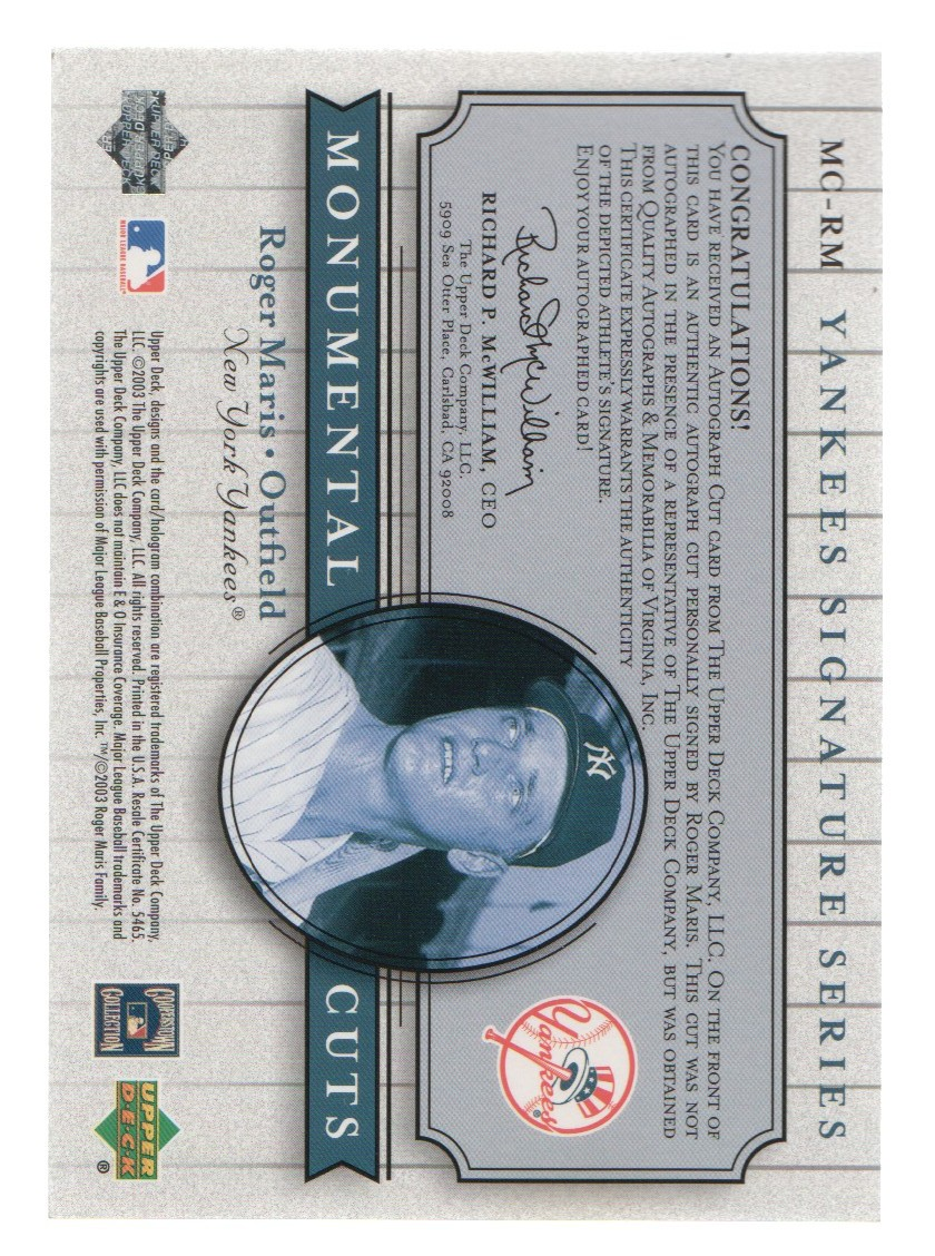 2003 Upper Deck Yankees Signature Monumental Cuts #RM Roger Maris/6 back image