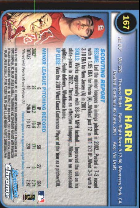 2003 Bowman Chrome #167 Dan Haren RC back image