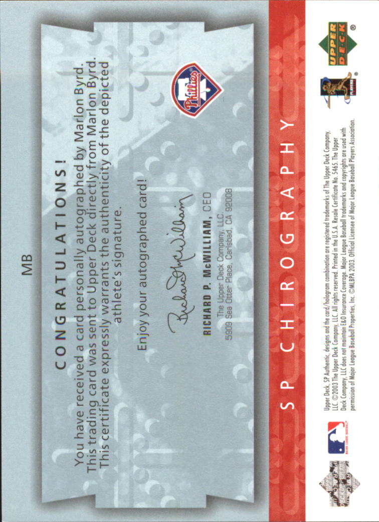 2003 SP Authentic Chirography Young Stars #MB Marlon Byrd/245 back image