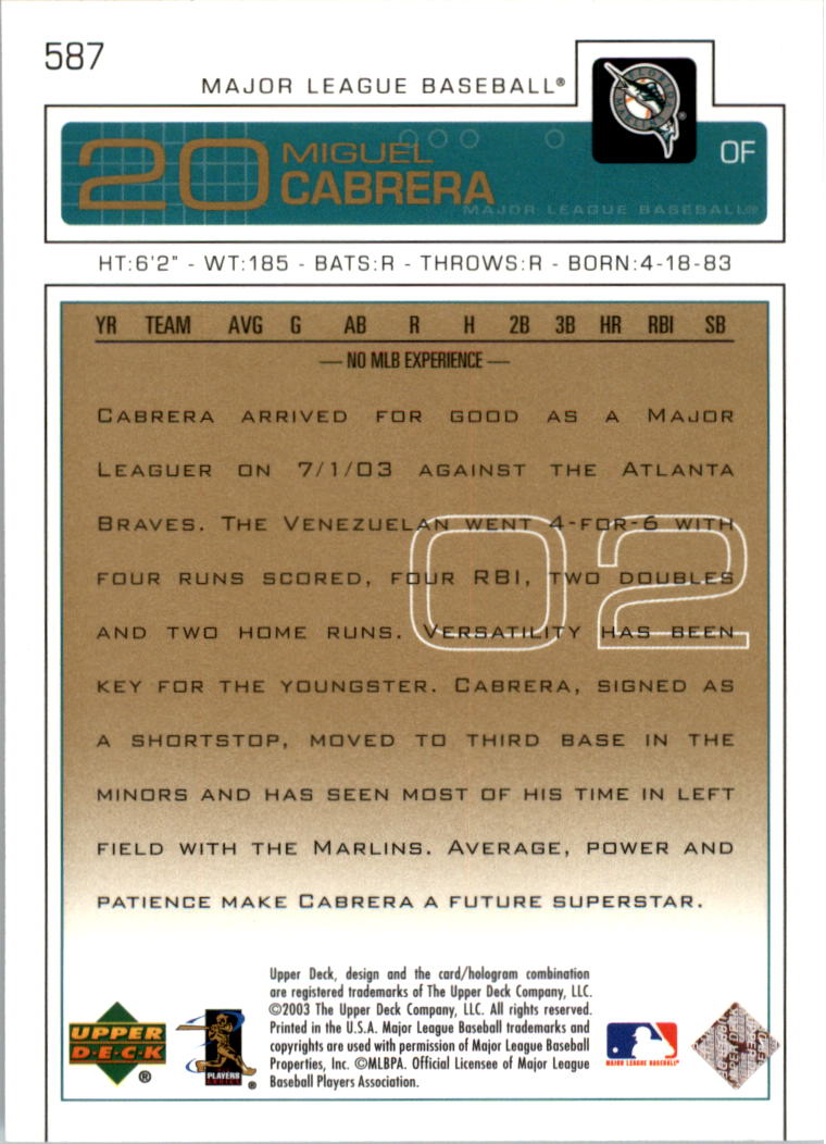 2003 Upper Deck Gold #587 Miguel Cabrera back image