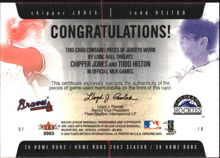 2003 Fleer Genuine Longball Threats Dual Swatch #15 Chipper Jones/Todd Helton back image