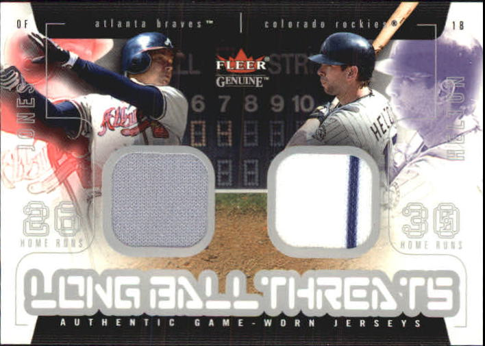 2003 Fleer Genuine Longball Threats Dual Swatch #15 Chipper Jones/Todd Helton