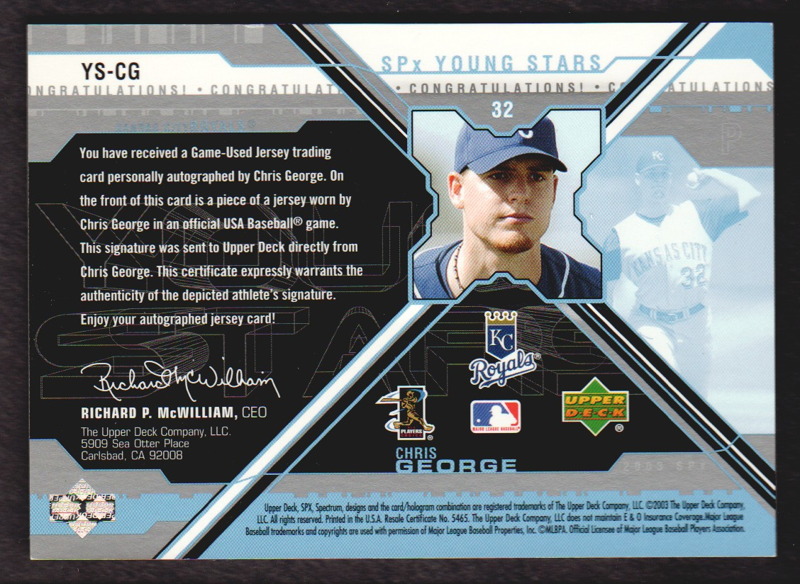 2003 SPx Young Stars Autograph Jersey #CG Chris George/1260 back image