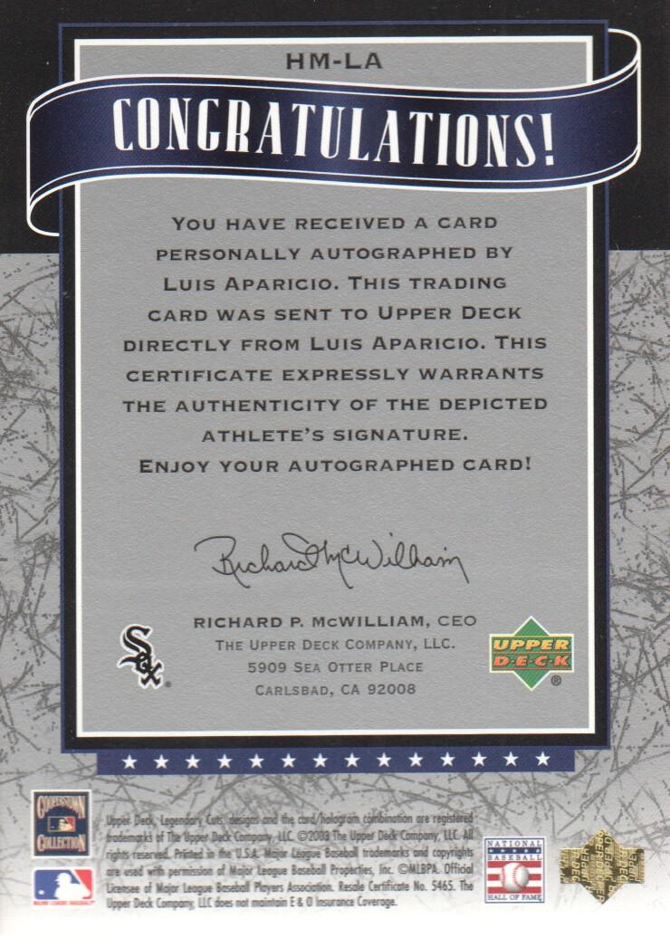 2003 SP Legendary Cuts Hall Marks Autographs Blue #LA Luis Aparicio back image