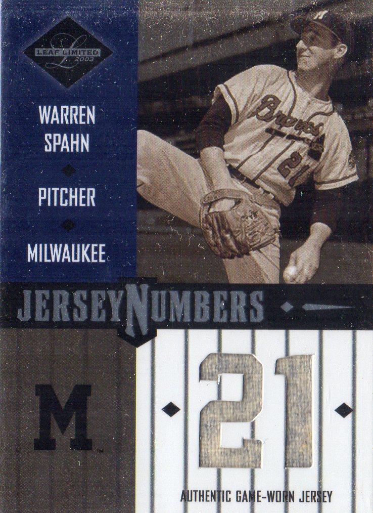 2003 Leaf Limited Jersey Numbers #29 Warren Spahn/50