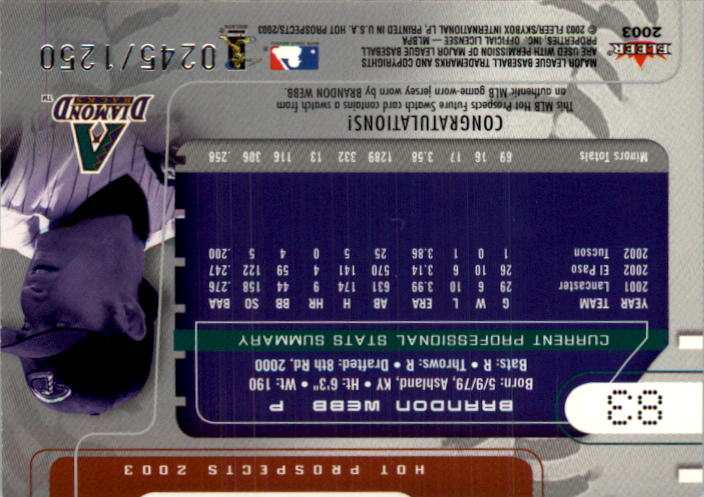2003 Hot Prospects #83 Brandon Webb FS Jsy RC back image