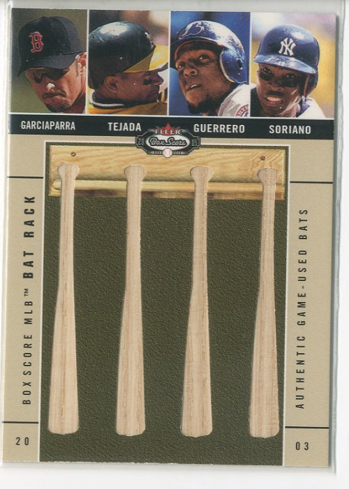 2003 Fleer Box Score Bat Rack Quads #7 Nomar/Tejada/Vlad/Sor