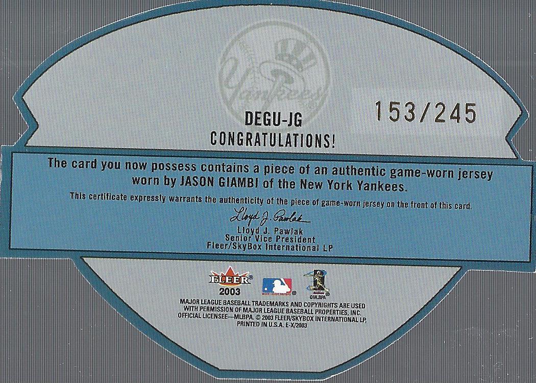 2003 E-X Diamond Essentials Game Jersey 245 #JG Jason Giambi back image