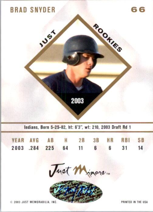 2003-04 Just Rookies Autographs #66 Brad Snyder/875 back image