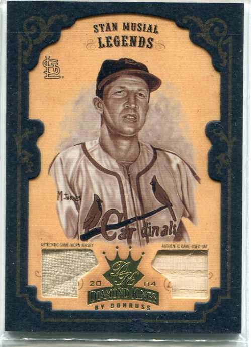 2004 Diamond Kings DK Materials Framed Gold Sepia #173 Stan Musial LGD Bat-Jsy/5