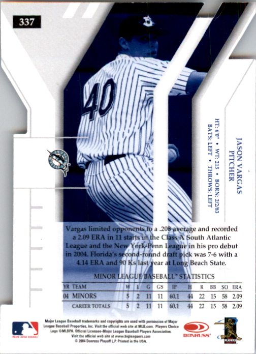 2004 Donruss Elite Extra Edition Signature Status #337 Jason Vargas DP/50 back image