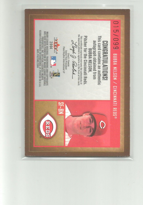 2004 National Pastime Signs of the Future Red #BN Bubba Nelson/99 back image