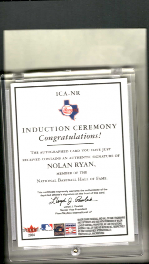 2004 Fleer InScribed Induction Ceremony Autographs Bronze #NR Nolan Ryan/35 UER back image