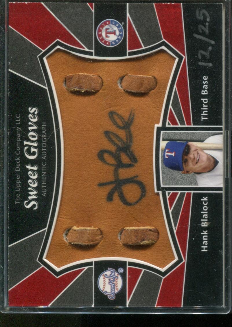 2004 Sweet Spot Signatures Glove #SSHB Hank Blalock/25