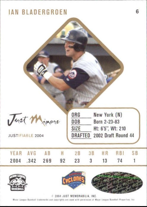 2004 Justifiable Autographs #6 Ian Bladergroen/825 * LATE back image