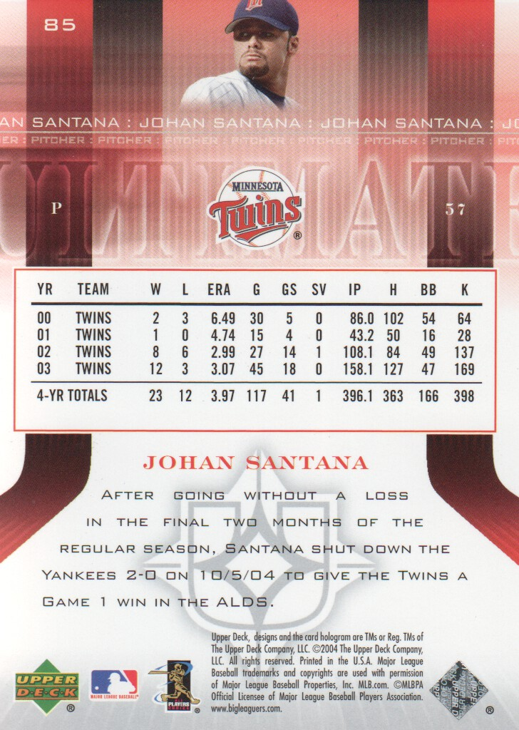 Santana The Ultimate Collection: 2004 Ultimate Collection Baseball #85 Johan Santana /675