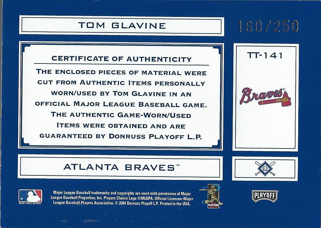 2004 Absolute Memorabilia Tools of the Trade Material Combo #TT141 T.Glav Braves Bat-Jsy/250 back image