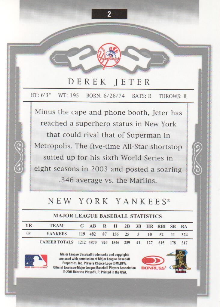 2004 Donruss Classics #2 Derek Jeter back image