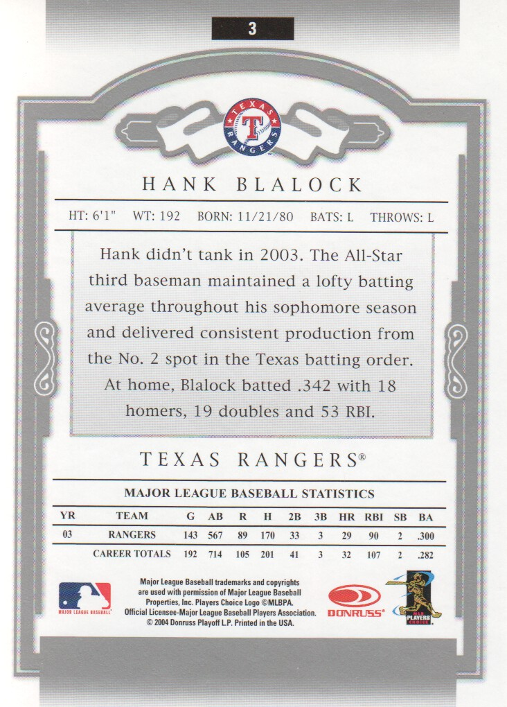 2004 Donruss Classics #3 Hank Blalock back image
