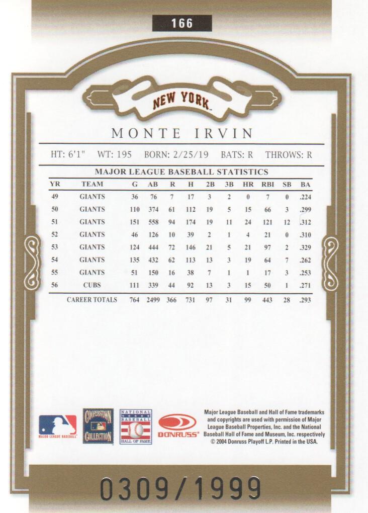 2004 Donruss Classics #166 Monte Irvin LGD back image