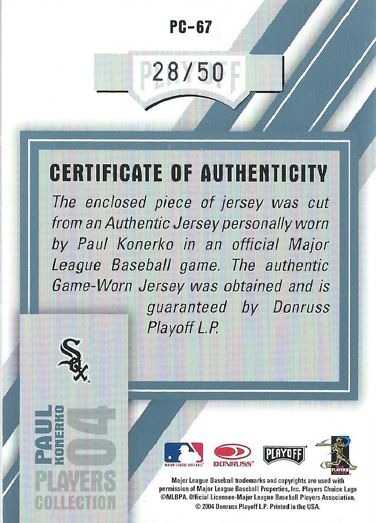 2004 Playoff Honors Players Collection Jersey Platinum Number #67 Paul Konerko back image