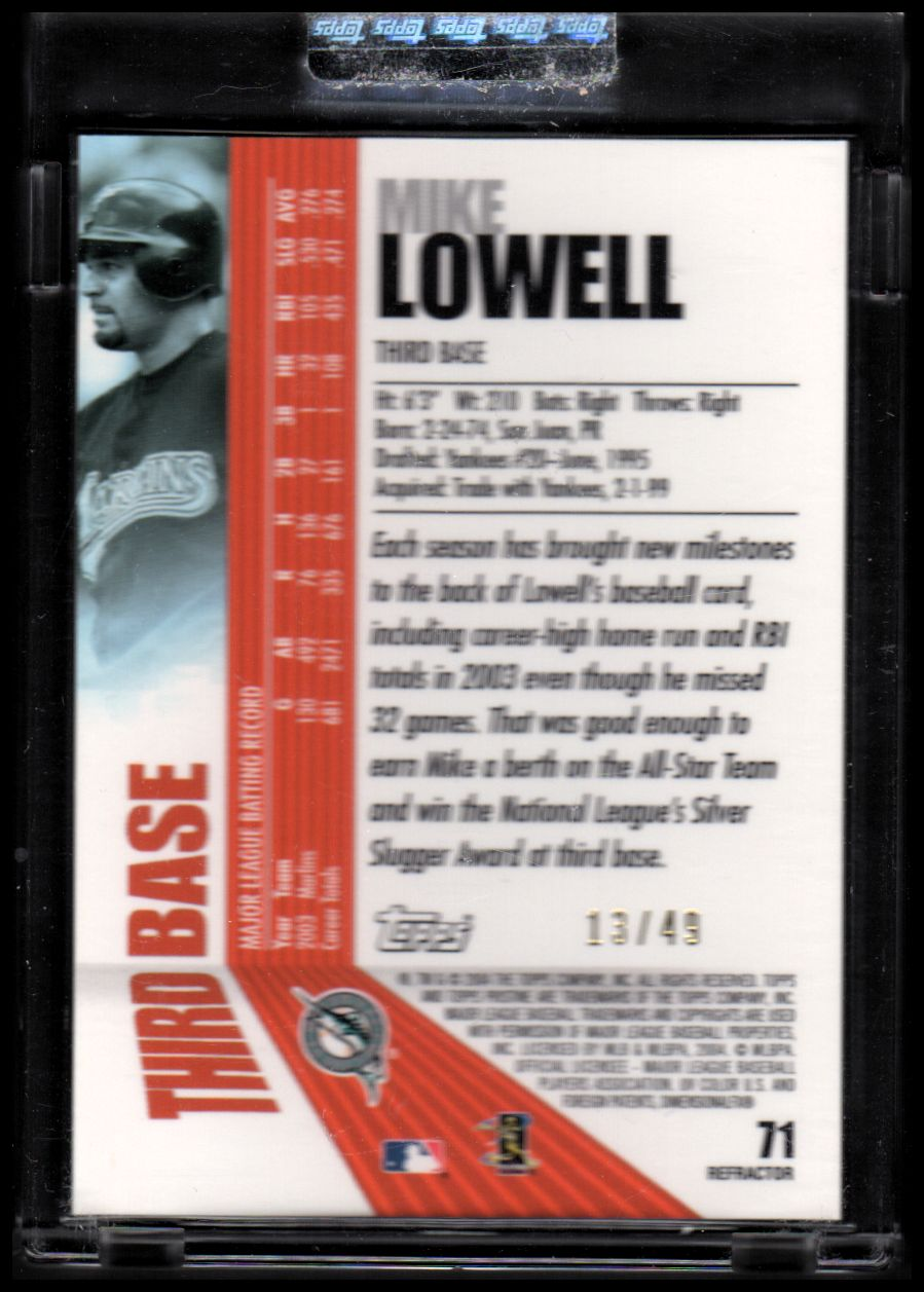 2004 Topps Pristine Refractors #71 Mike Lowell back image