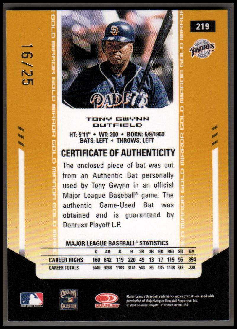 2004 Leaf Certified Materials Mirror Bat Gold #219 Tony Gwynn LGD back image
