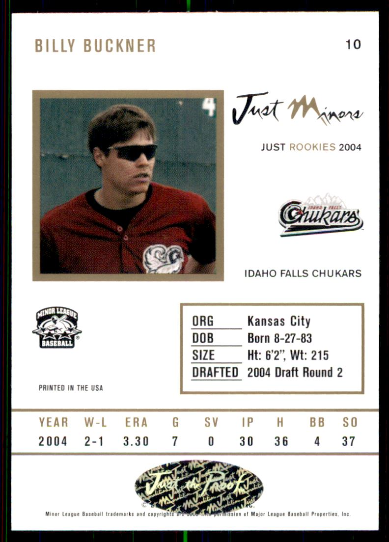 2004 Just Rookies Autographs #10 Billy Buckner/825 * back image