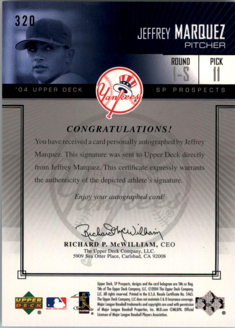 2004 SP Prospects #320 Jeff Marquez AU/400 RC back image
