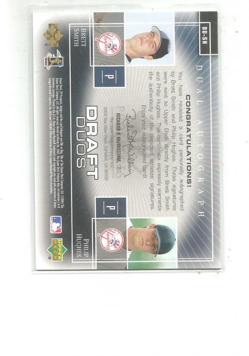 2004 SP Prospects Draft Duos Dual Autographs #SH Brett Smith/Phillip Hughes back image