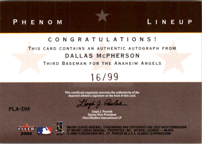 2004 Classic Clippings Phenom Lineup Autograph Silver #DM D.McPher w/Glaus-And back image