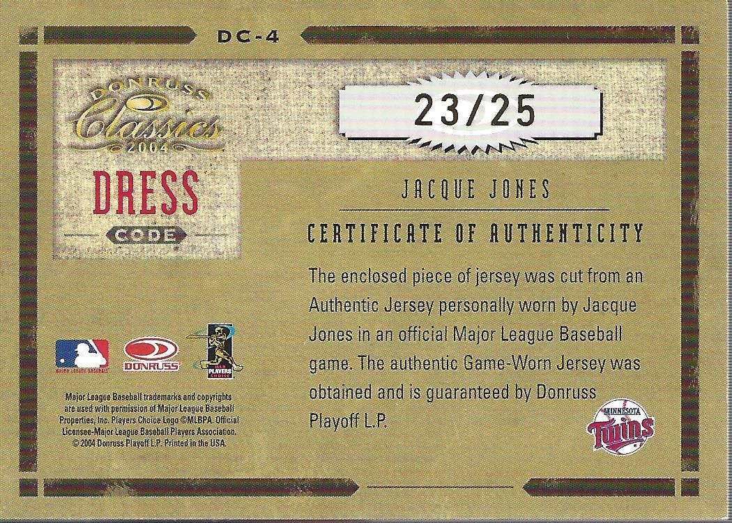 2004 Donruss Classics Dress Code Combos Signature #4 Jacque Jones Jsy/25 back image