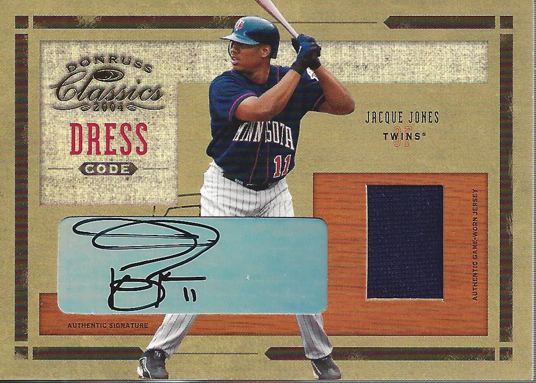 2004 Donruss Classics Dress Code Combos Signature #4 Jacque Jones Jsy/25