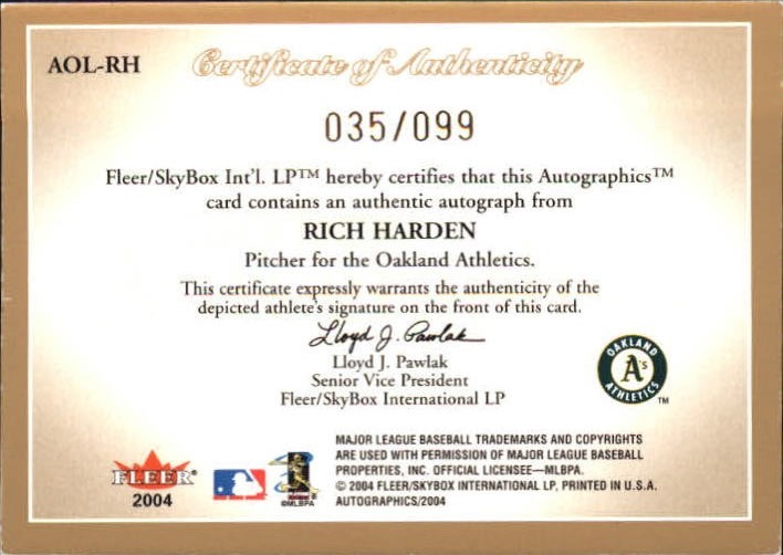 2004 SkyBox Autographics Signatures On Location #RH1 Rich Harden back image