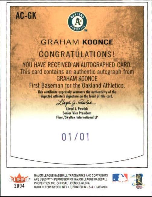 2004 Flair Autograph Masterpiece #GK Graham Koonce back image