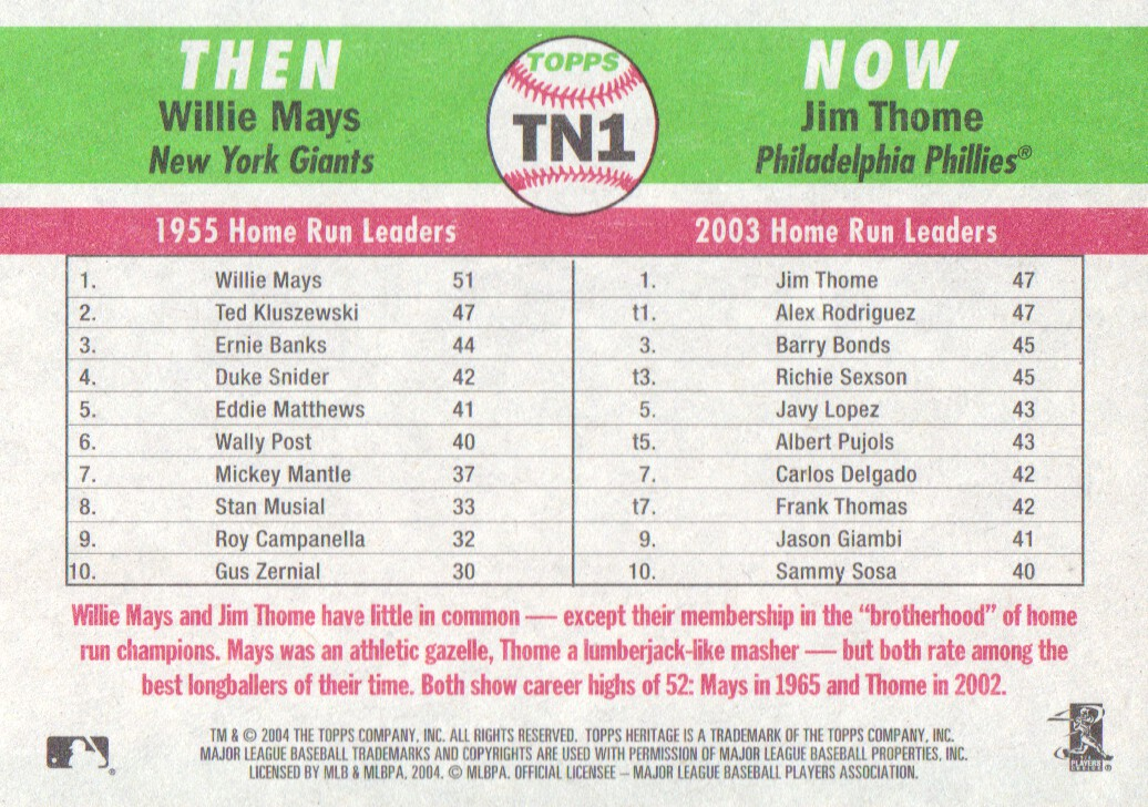 2004 Topps Heritage Then and Now #TN1 W.Mays/J.Thome back image