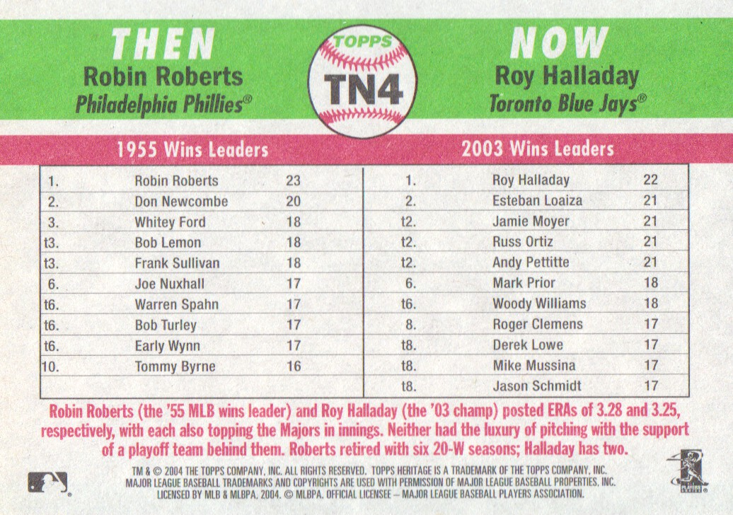2004 Topps Heritage Then and Now #TN4 R.Roberts/R.Halladay back image