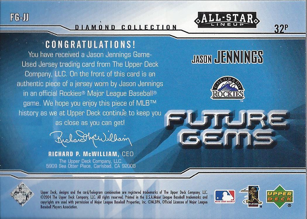 2004 UD Diamond All-Star Future Gems Jersey #JJ Jason Jennings ...