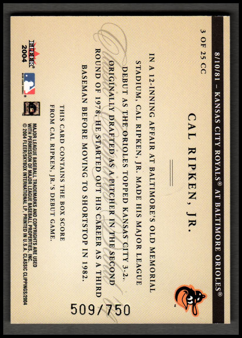 2004 Classic Clippings Inserts #3 Cal Ripken back image