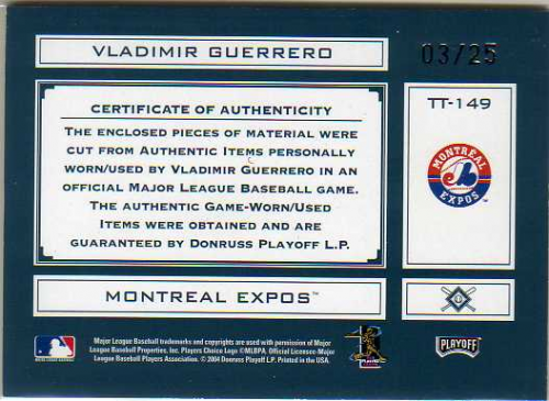 2004 Absolute Memorabilia Tools of the Trade Material Trio #TT149 Vladimir Guerrero/25 back image