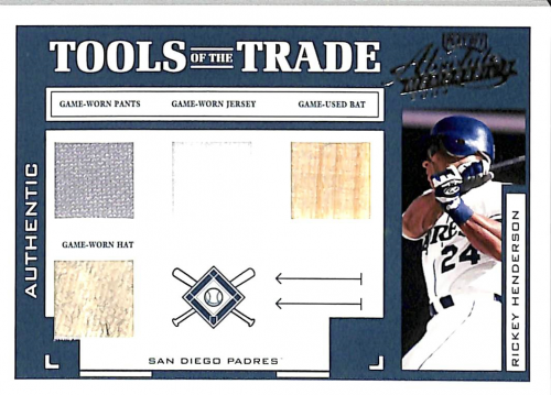 2004 Absolute Memorabilia Tools of the Trade Material Quad #TT122 Rickey Henderson Padres/10