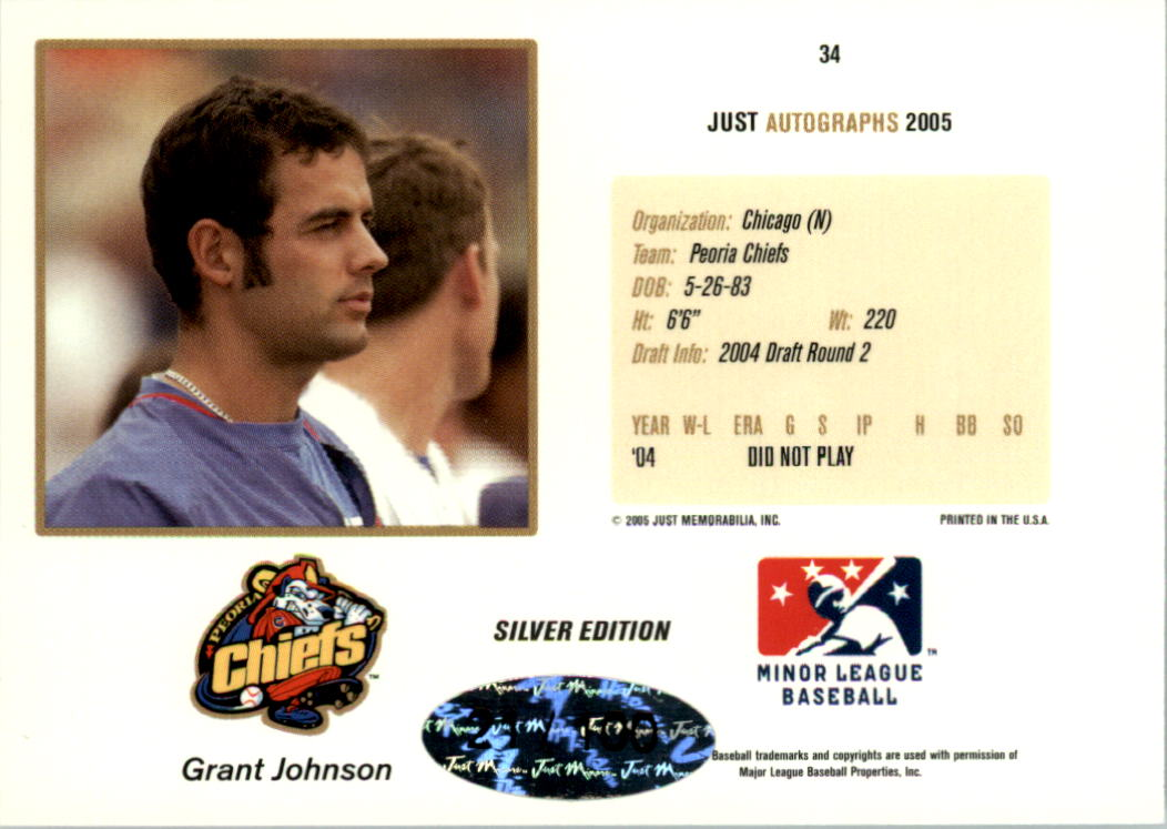 2005 Just Autographs Signatures Silver #34 Grant Johnson back image